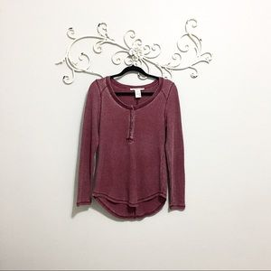 Long Sleeve Thermal/Knit long sleeve button front